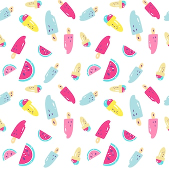 Bright summer pattern with different ice-cream