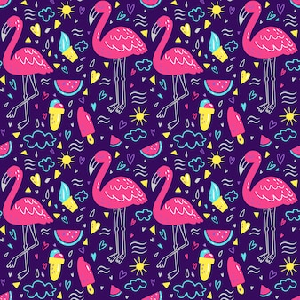 Bright summer pattern with flamingo, hearts, ice-cream, watermelon, cloud