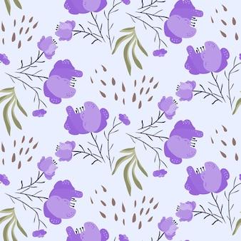 보라색 양귀비 꽃과 밝은 여름 패턴