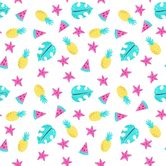 Bright summer pattern with watermelon, pineapple, monstera, starfish.