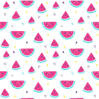 Bright summer pattern with watermelon