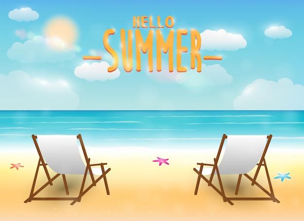 Bright summer sea beach with a relax chair