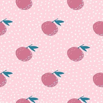 ピンク色のみかんの飾りと明るい夏のシームレスな落書きパターン。