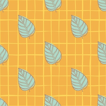 Яркие летние бесшовные цветочный узор листьев. ботанические синие контурные силуэты на оранжевом клетчатом фоне.