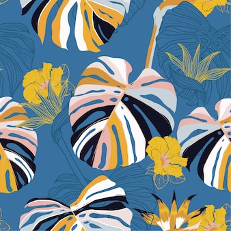 Bright summer seamless pattern vector tropical floral .