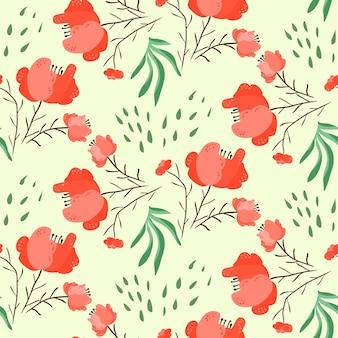 赤とピンクのポピーの花と葉と明るい夏のシームレスなパターン