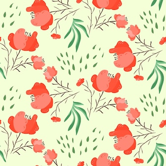 Bright summer seamless pattern with red and pink poppy flowers and leaves
