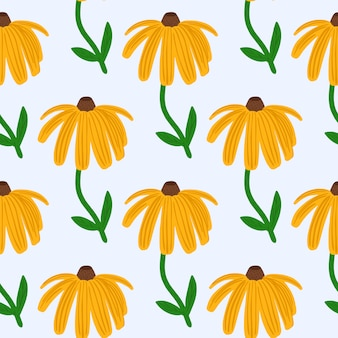 Bright summer seamless pattern with yellow sunflower silhouette. isolated floral print with white ackground.