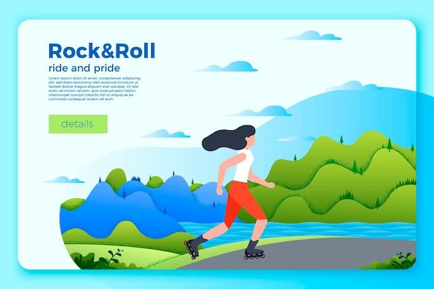 스케이트에 소녀와 밝은 여름 스케이트 배너 템플릿. 도로, 강, 푸른 언덕