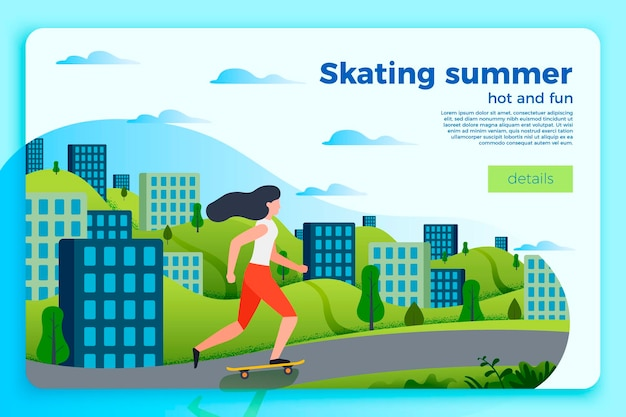 Bright summer skating banner template with girl on a skate. city and green hills