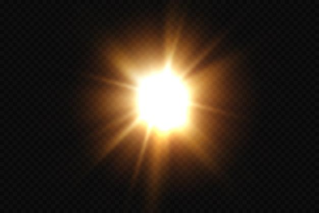Яркое солнце всплеск ярких звездных лучей солнца, изолированных на прозрачном фоне.