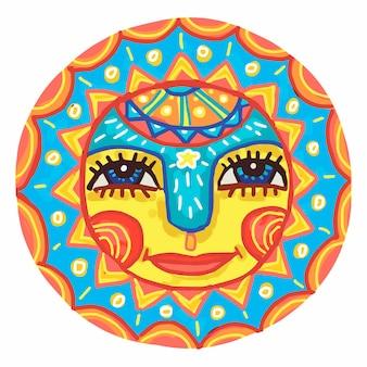 装飾品で飾られた明るい太陽。春とカーニバルのシンボル。漫画スタイルの楽しみのベクトル