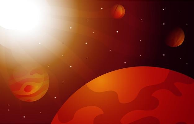 밝은 태양 행성 별 하늘 공간 우주 탐사 삽화