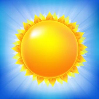 青い空のイラストが分離された明るい太陽