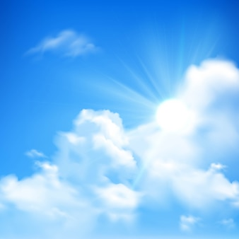Bright sunbeams coming out of heap clouds background