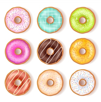 Bright tasty donuts top view set