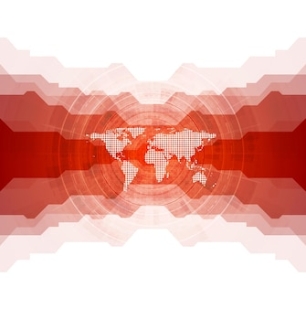 Яркий технический фон с картой мира. векторный дизайн