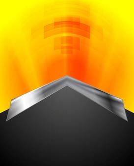 金属の矢印と明るい技術の背景。ベクトルデザイン