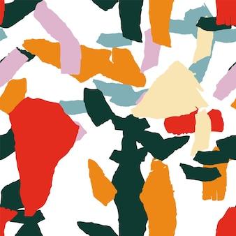 明るいテラゾタイルベクトルシームレスパターン。花崗岩のテラゾ壁のデザイン。桃とオレンジのテラゾパターン。