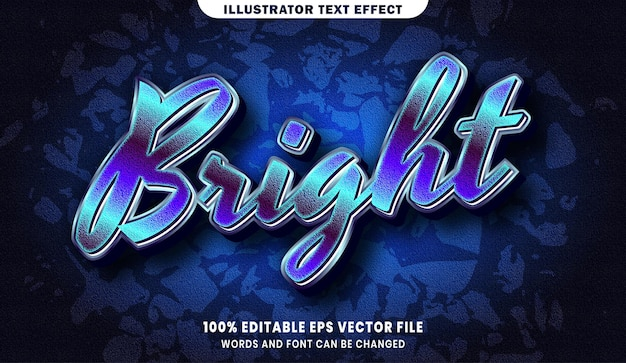 Bright text, font style editable text effect