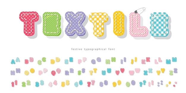Bright textile font for kids