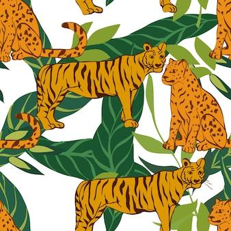 明るい虎と葉のベクトルのシームレスなパターン。ワイルドチータープリント。花の背景。ヒョウと葉のモトリー熱帯イラスト。