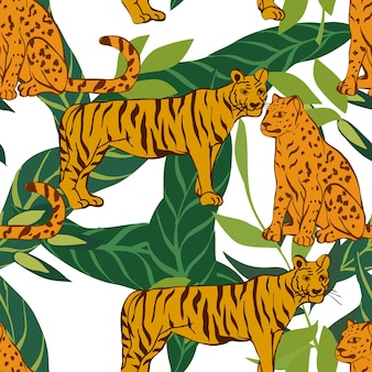 Bright tiger and leaves vector seamless pattern. wild cheetah print. floral background. leopard and leaf motley tropical illustration.