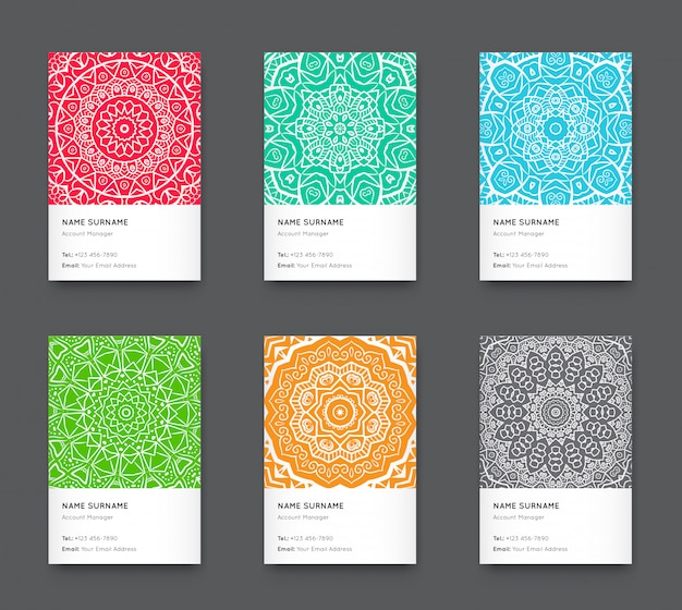 Bright trendy vertical business card set