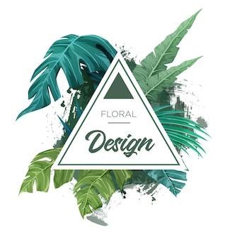 Яркий тропический фон с растениями джунглей. экзотический макет с пальмовыми листьями. векторная иллюстрация