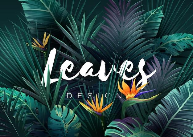 Яркий тропический фон с растениями джунглей. экзотический узор с пальмовыми листьями. векторная иллюстрация