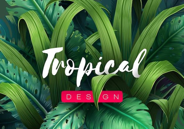 ジャングルの植物と明るい熱帯の背景。熱帯の葉とエキゾチックなパターン。図