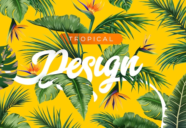 Яркий тропический фон с растениями джунглей экзотический узор с тропическими листьями вектор
