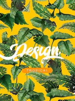 ジャングルの植物と明るい熱帯の背景。熱帯の葉とエキゾチックなパターン