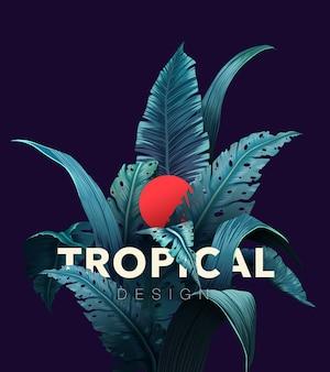 Яркий тропический фон с растениями джунглей. экзотический узор с тропическими листьями