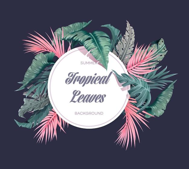 Яркий тропический фон с растениями джунглей. иллюстрация