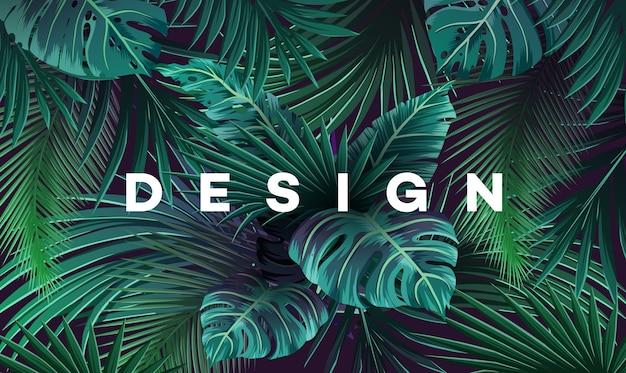정글 식물을 가진 밝은 열 대 배경. 손바닥으로 벡터 이국적인 패턴 나뭇잎.
