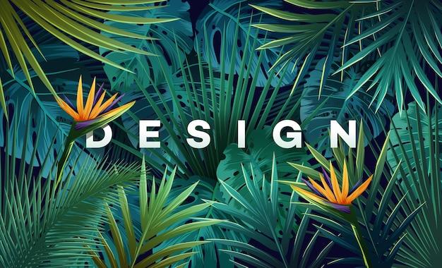 ジャングルの植物と明るい熱帯の背景。ヤシの葉でエキゾチックなパターンをベクトルします。