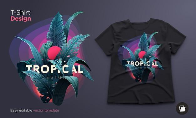 정글 식물이있는 티셔츠를위한 밝은 열대 디자인.