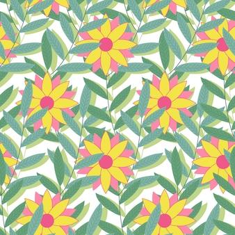 밝은 열 대 완벽 한 패턴입니다. 나뭇잎과 꽃의 배경입니다. 벡터