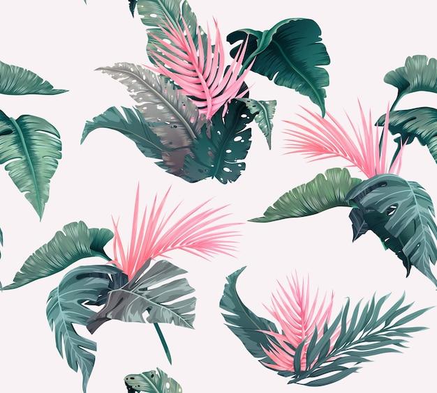 정글 식물과 밝은 열대 원활한 패턴입니다. 야자수 잎이 있는 이국적인 배경. 삽화