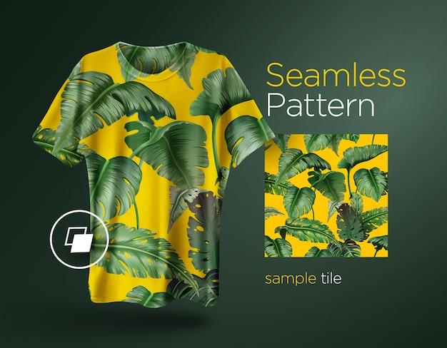 ジャングルの植物と明るい熱帯のシームレスなパターン。 tシャツにプリントする準備ができているファッションデザイン