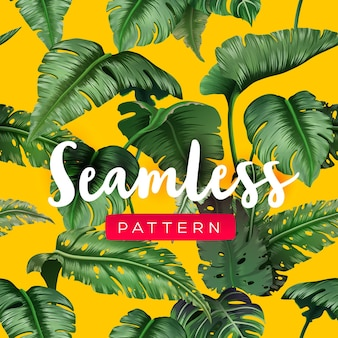 Bright tropical seamless pattern with jungle plants