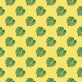 노란색 배경에 몬스테라 잎이 있는 밝은 열대 원활한 패턴입니다. 식물 단풍 식물 벽지. 이국적인 하와이 배경입니다. 직물, 섬유 인쇄, 포장, 커버 디자인.