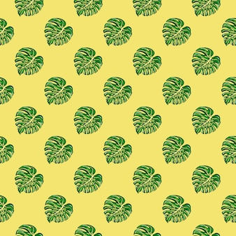 Bright tropical seamless pattern with monstera leaves on yellow background. botanical foliage plants wallpaper. exotic hawaiian backdrop. design for fabric, textile print, wrapping, cover.