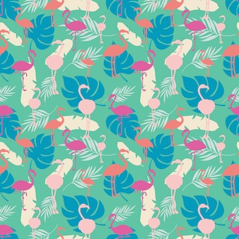 Bright tropical summer seamless pattern with flamingo and plants