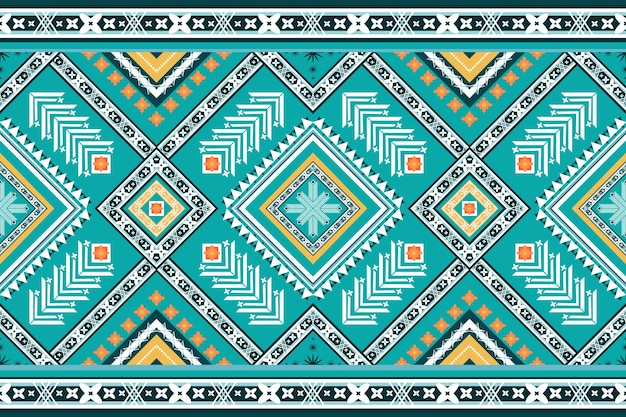 Bright turquoise blue tone ethnic geometric oriental seamless traditional pattern. design for background, carpet, wallpaper backdrop, clothing, wrapping, batik, fabric. embroidery style. vector