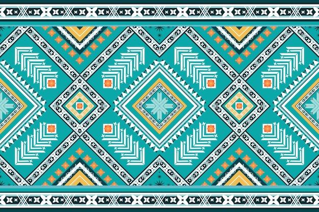 明るいターコイズブルーのトーンのエスニック幾何学的なオリエンタルシームレスな伝統的なパターン。背景、カーペット、壁紙の背景、衣類、ラッピング、バティック、ファブリックのデザイン。刺繡スタイル。ベクター