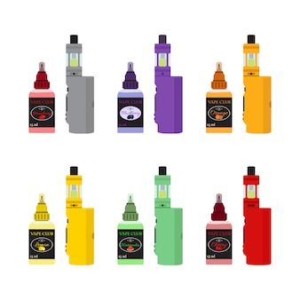 Bright vape devices set. vaping juice in bottle.