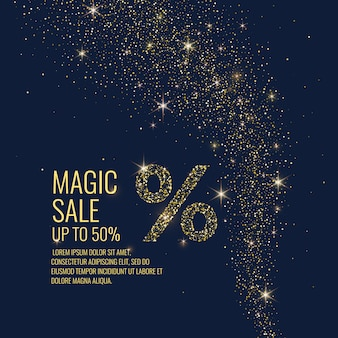 Bright vector illustration. magic sale. sparkling glittery particles on a dark background.