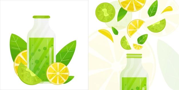 Яркие векторные иллюстрации бутылки открываются и закрываются с ломтиками свежих фруктов